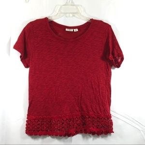 CATO Red Top with Lace Hem Size M K13